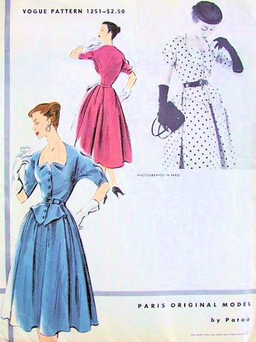 ELEGANT 1950s Vogue Paris Original Model 1251 Vintage Sewing Pattern Patou Design DressUunique Neckline Collectible Vintage Vogue Pattern