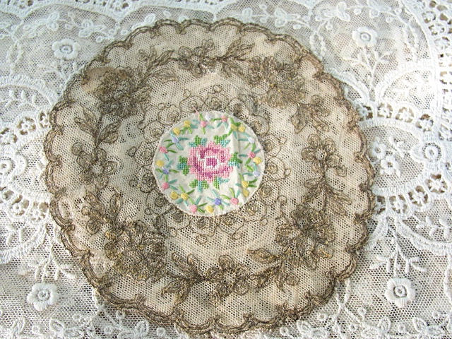 RARE Antique French Doily Gold Metallic Embroidery Gold METAL THREAD Embroidered on Net Tulle Lace Petite Point Silk Center Frame It