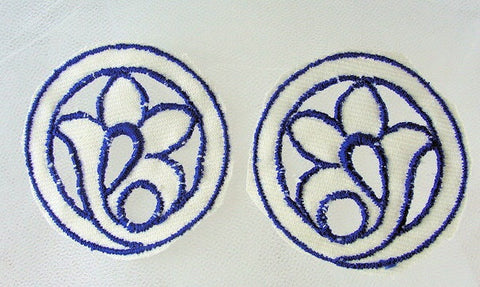 Lovely 20s ART DECO French Blue and White Embroidered  Pr Cutwork Floral Appliques For Hats Bags Flapper Head Bands Dresses Etc