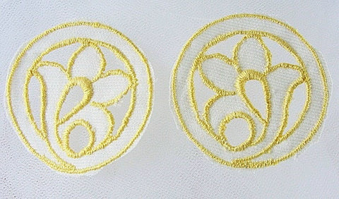Lovely 1920s Art Deco Yellow Embroidered  Pair Cutwork Floral Appliques Great For Hats Bags Flapper Head Bands Dresses Downton Abbey Era