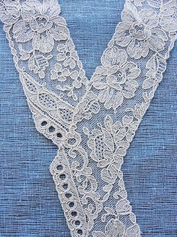1920s Antique Art DECO French Tulle Netted Embroidered Lace Collar Applique Flapper Dress Downton Abbey Great Gatsby Bridal Vintage Clothing