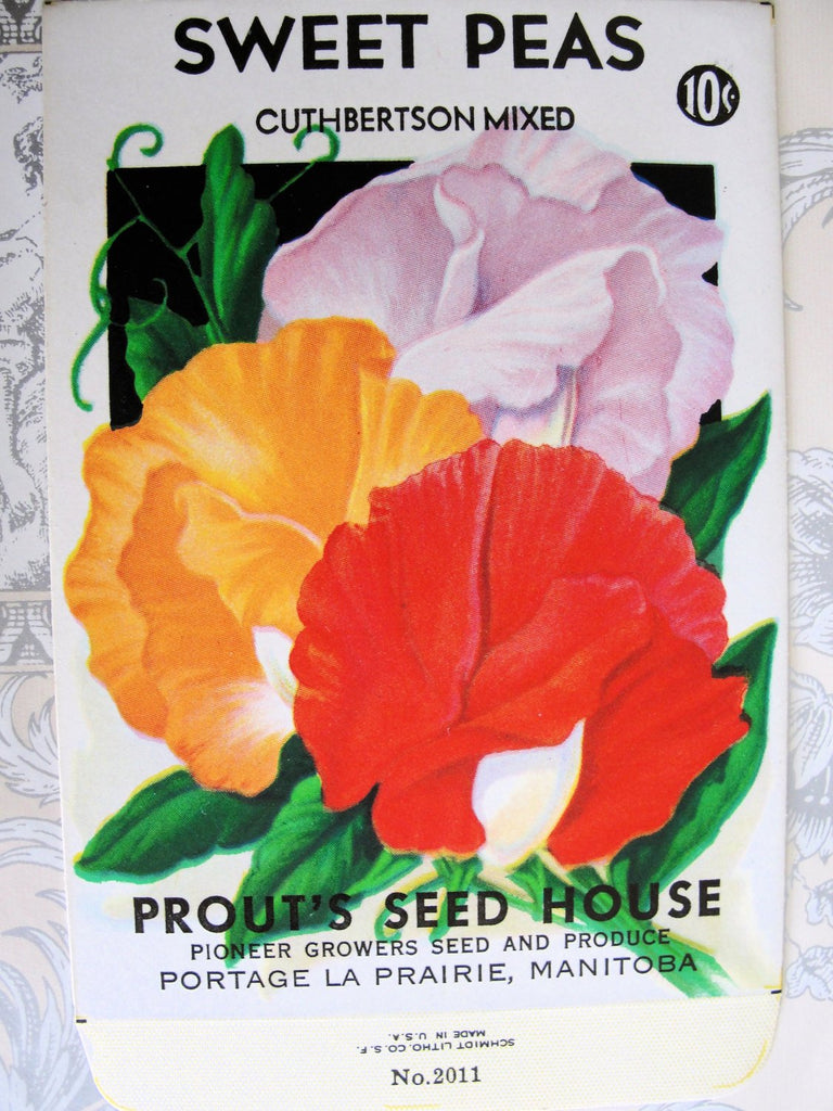 1930s COLORFUL Floral Vintage Seed Packet Perfect to Frame or For Weddings, Crafts Scrapbooking , Farmhouse , French Country Cottage Decor