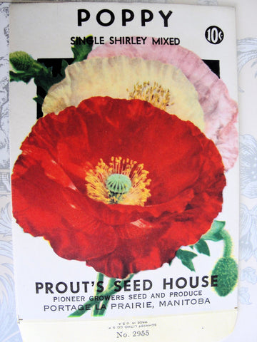 ANTIQUE Seed Packet Colorful Poppy Flowers Suitable To Frame Cottage Chic Decor Scrapbooking Crafts Weddings Gifts