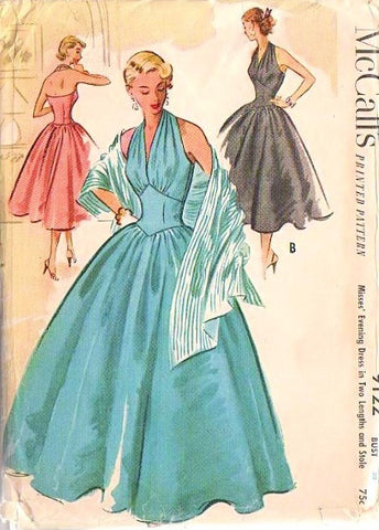 50s GLAM Vintage McCalls 9122 Pattern Rockabilly Basque Midriff Halter  Ball Gown, Marilyn Monroe Style Cocktail Party Dress and Stole
