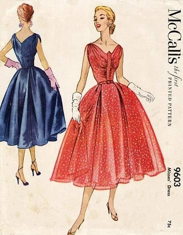 GLAM 50s Vintage McCalls 9603 Pattern Glam Shirred Bodice Draped Shoulders Evening Party Dress Marilyn Monroe Style Cocktail Party Dress