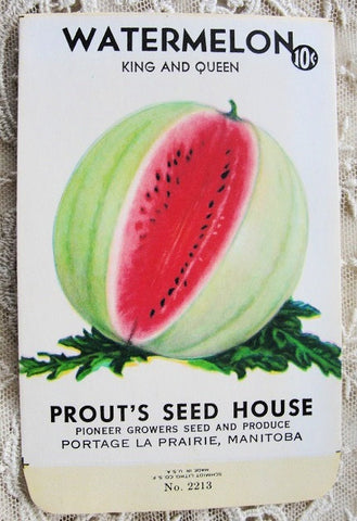 Antique 1930s Seed Packet Colorful Watermelon  Suitable To Frame Cottage Chic Decor Scrapbooking Crafts Weddings Gifts