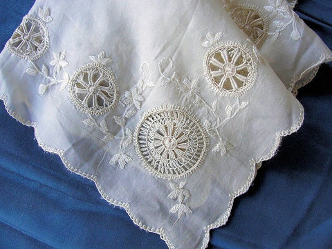 BEAUTIFUL Antique French Embroidered Silk Handkerchief Hanky Lots of Handwork Needle Lace  Perfect For Bride  Special Wedding Hankie