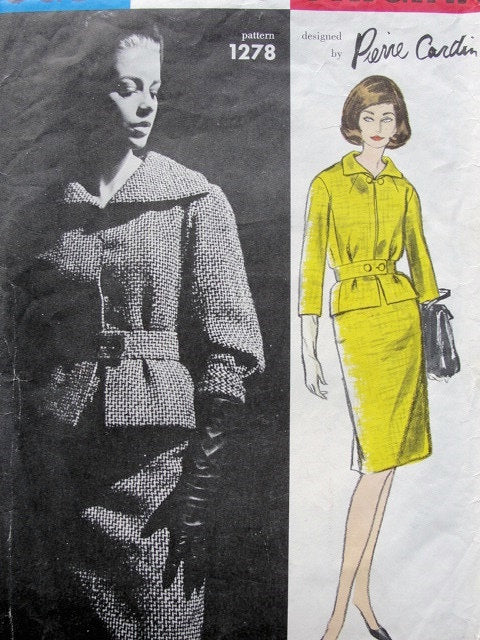 1960s Vintage Sewing Pattern VOGUE PARIS Original 1278 Pierre CARDIN Suit Slim Skirt, Short Belted Jacket Bust 32