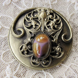 Antique Art NOUVEAU Victorian HUGE 2 Inch Fancy Button Highly Detailed FILIGREE Design With Art Glass Stone Very Rare Jewel Button