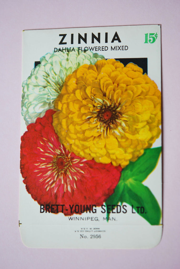 1930s Vintage Zinnia Flower Seed Packet