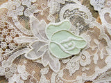 20s Antique ART DECO Embroidered Organdy n Cotton Vintage Applique Mint Green Rose  For Hats,Dolls,Boudoir Lampshades  Downton Abbey Era