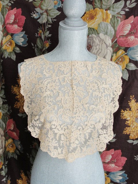 Breathtaking Large Antique FRENCH LACE Collar Tambour Embroidered Flowers Wear Front or Back Great Gatsby Style Bridal Vintage Clothing