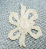 1920s Antique Art Deco Intricate Embroidered Vintage Applique Flower and Bow For Hats Flapper Clothing Downton Abbey Era