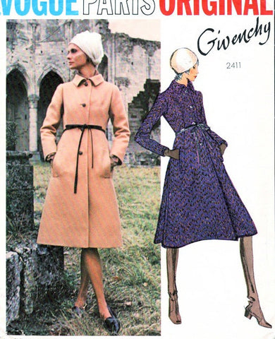 70s GIVENCHY Coat Pattern Vogue Paris Original 2411 Stunning Design A Line Side Bk Inverted Pleats B 34 Vintage Sewing Pattern