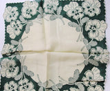 50s VINTAGE Printed Floral Hanky PANSY Pansie Flowers Handkerchief To Frame Collectible Hankies  Shabby Chic Hankies To Collect