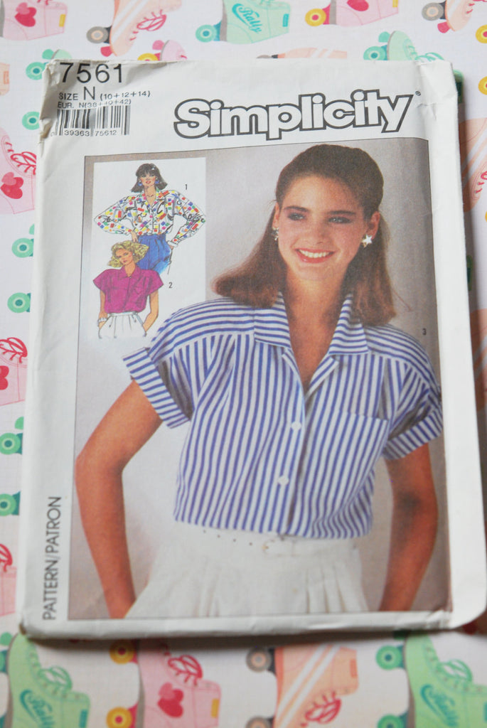 1980s Simplicity 7561 Pattern Classic Tailored Shirt Blouse Pattern 3 Style Versions Vintage Sewing Pattern