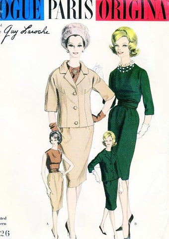 CLASSY 1960 Slim Suit and Blouse Pattern Guy Laroche VOGUE Paris Original 1026 Daytime or Evening Elegance B 34 Vintage Sewing Pattern