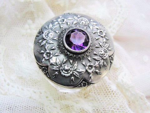 GORGEOUS Repousse ROSES Antique Sterling Silver Amethyst Gem Stone Top Cut Glass Vanity Dresser Cosmetic Jar Decorative Boudoir Collectible
