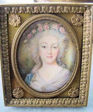 RARE Original Antique Signed Miniature of MARIE ANTOINETTE French Bronze Small Frame Beautiful Decorative Rare Gem For Miniatures Collector