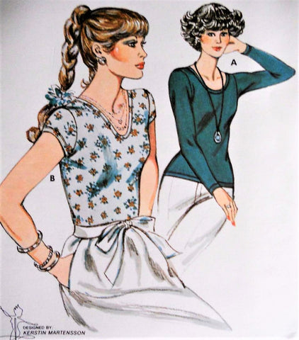 70s KWIK SEW VINTAGE SEWING PATTERN 892 LADIES T-SHIRT Top Sizes 6-8-10-12  UNCUT FACTORY FOLDED