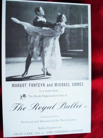 Rare MARGOT FONTEYN Ballerina Michael Somes BALLET Swan Lake Advertising Card Royal Ballet Theatre Promotional Ad Card, Ballet Collectors
