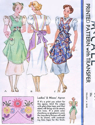 RARE 1930s Beautiful Full Bib Apron Pattern McCALL 504 Very Pretty Styles Includes Embroidery Transfer Size Small 14-16 Vintage Aprons Sewing Pattern