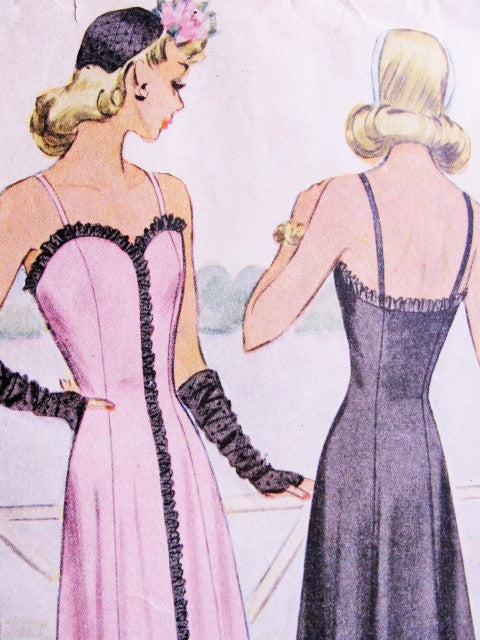 40s BEAUTIFUL Evening Dress Gown Pattern McCALL 5705 WW II Era Stunning Sweetheart Neckline Figure Flattering Design Bust 38 Vintage Forties Sewing Pattern