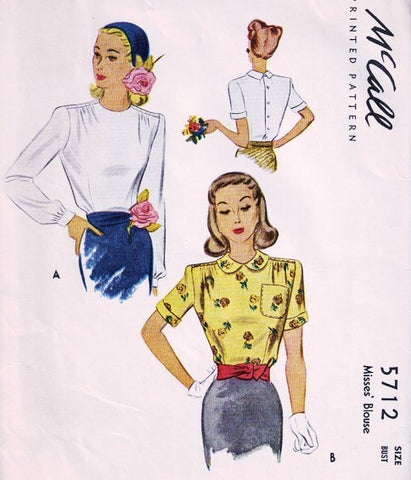 40s STYLISH Blouse Pattern McCALL 5712 Two Style Versions Bust 32 Vintage Sewing Pattern