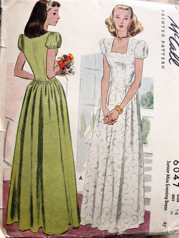 40s LOVELY Prom or Evening Dress Pattern McCALL 6047 Square Neckline,Puff Sleeves Big Band Era Forties Gown Bust 32 Vintage Sewing Pattern