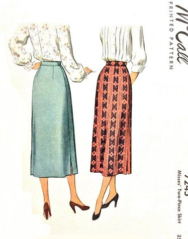 40s SLEEK Slim Skirt Pattern McCALL 7245 Easy To Make 2 Pc Skirt,Classic Design Waist 26 Vintage Sewing Pattern