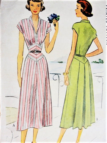 40s STRIKING Dress Pattern McCALL 7574 Eye Catching Diamond Midriff Inset Back Pleated Flattering Design Bust 33 Vintage Sewing Pattern UNCUT