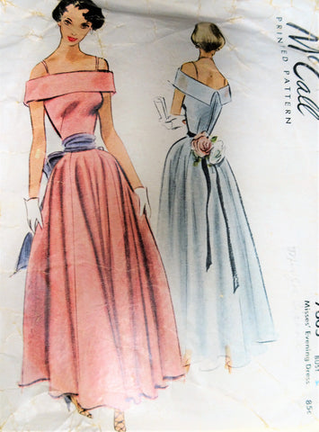 40s BEAUTIFUL Evening Gown Pattern MCCALL 7605 Off Shoulders Design Figure Flattering Style Bust 34 Vintage Sewing Pattern