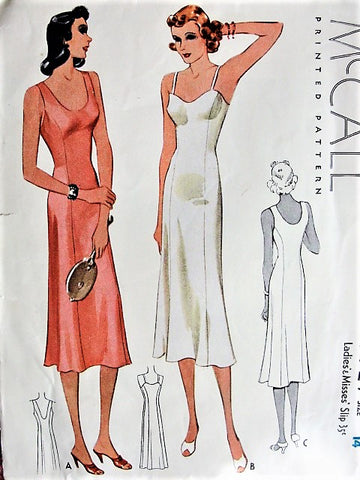 1930s GLAMOROUS Slips Lingerie Pattern McCALL 9727 Two Styles Slip Dress Bust 32 Vintage 30s Sewing Pattern