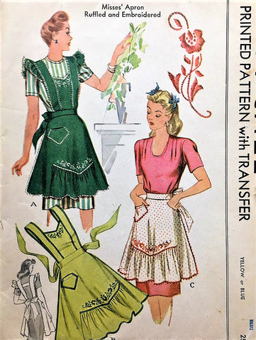 40s PRETTY War Time WWII  Apron Pattern McCALL 1124 Three Lovely Styles Half and Full Bib Vintage Sewing Pattern Medium
