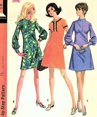 60s MOD Empire Dress Pattern McCALLS 2127 Three Cute Styles Bust 38 Vintage Sewing Pattern FACTORY FOLDED