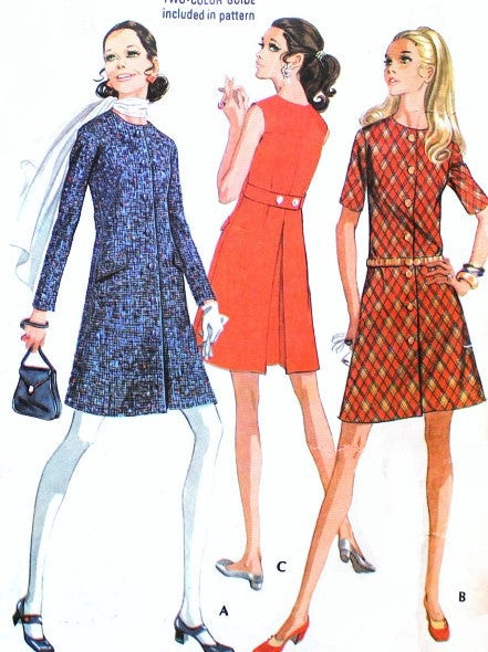 1960s MOD Dress Pattern McCalls 2129 CUTE Front Button Coat Dress Bust 34 Vintage Sixties Sewing Pattern UNCUT