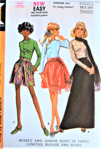 60s McCALLS 2196 FAB Day or Evening Dirndl Skirt Blouse and Scarf Pattern Three Skirt Lengths Mini Regular and Maxi Bust 38 Vintage Sewing Pattern UNCUT