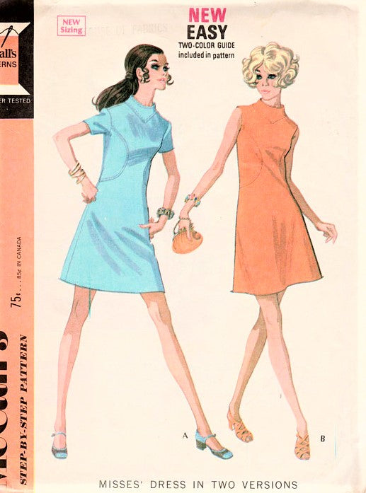 1960s MOD Dress Pattern McCALLS 2226 Seam Interest A Line Dress with Curved Insets Funnel Neckline Bust 38 Vintage Sewing Pattern FACTORY FOLDED