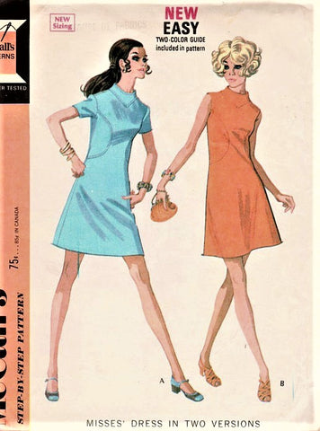 60s MOD Dress Pattern McCALLS 2226 Seam Interest A Line Dress with Curved Insets Bust 36 Vintage Sewing Pattern
