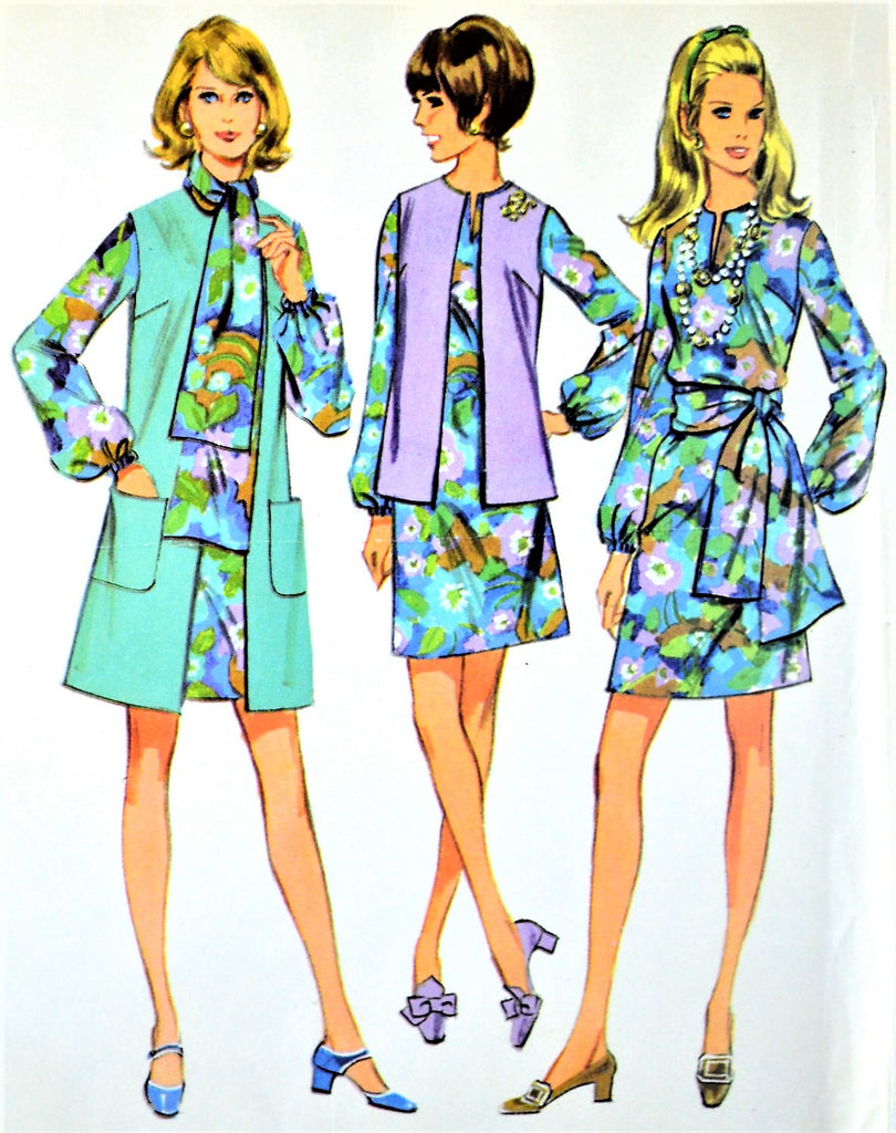 RETRO 60s McCalls 2238 Dress and Sleeveless Coat Jacket Scarf Pattern Vintage Sewing Pattern UNCUT