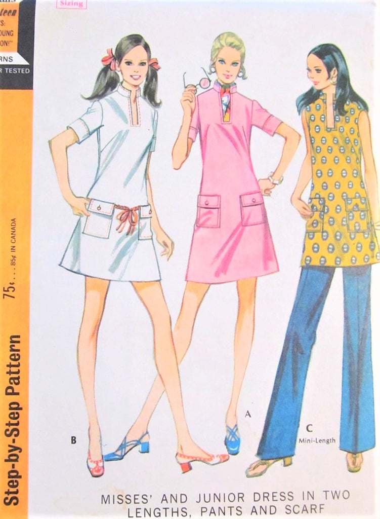 1960s UNIQUE Mod A Line Dress, Trousers and Scarf Pattern McCALLS 2245 Bust 32 Vintage Sewing Pattern FACTORY FOLDED