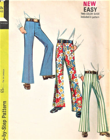 1970s Vintage Bell Bottom Pants Pattern McCalls 2263 Boys or Unisex Teen Step By Step Pattern Waist 25 Vintage Sewing Pattern UNCUT