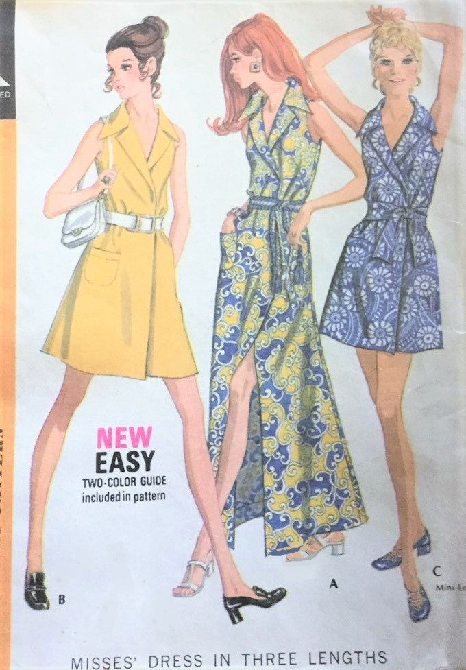1970s CHIC Mod WRAP Dress Pattern McCALLS 2382 Mini, Regular and MAXI Dress Perfect CruiseWear Bust 32 Vintage Sewing Pattern UNCUT