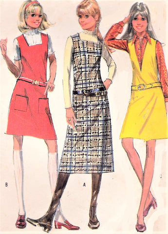 1970s CUTE Jumper Pattern McCALLS 2452 Three Versions Includes Midi Length Size 9/10 Vintage Sewing pattern FACTORY FOLDED