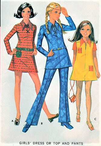 70s RETRO Girls Lace Up Dress Tunic and Pants Pattern McCALLS 2482 Hip Styles Size 8 Childrens Vintage Sewing Pattern UNCUT