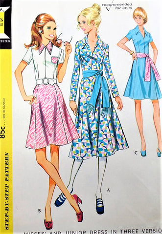 70s McCALLS 2648 Day or Party Dress and Sash Flirty Gored Skirt 3 Versions Bust 34 Vintage Sewing Pattern UNCUT