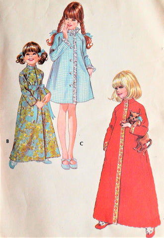 60s SWEET Little Girls Robe Bathrobe Pattern McCALLS 2697 Three Pretty Versions Toddlers Size 2 Vintage Childrens Sewing Pattern FACTORY FOLDED