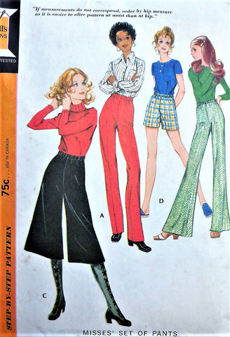 RETRO 70s High Waist Shorts Wide Leg Pants Midi Culottes Gauchos Slim Leg Pants Pattern McCALLS 2721 Waist 27 Vintage Sewing Pattern