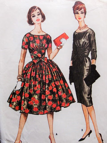 50s Slim or Full Skirt Day or Evening Party Midriff Dress McCalls 5142 Scoop Neckline Bust 34 Vintage Sewing Pattern