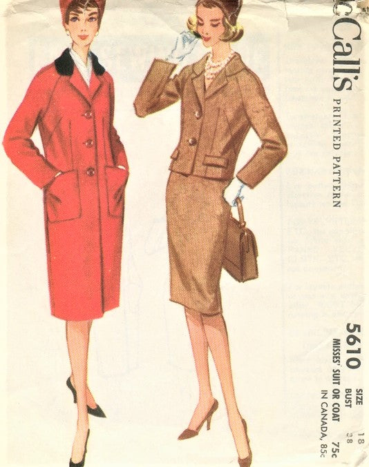 1960s CLASSY Suit or Raglan Sleeve Coat Pattern McCALLS 5610 Slim Skirt Suit Bust 38 Vintage Sewing Pattern